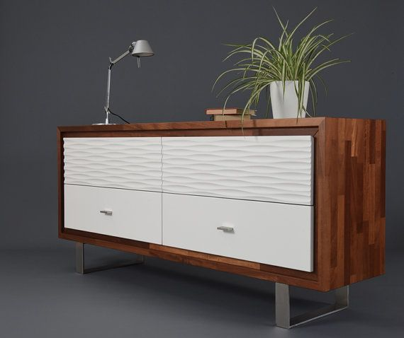 Belief in solid wood of drawers with 4 large drawers / Console modern with white drawers / Design sideboard in Wood