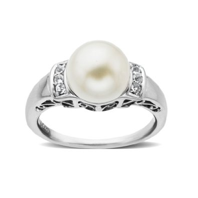 Sterling Silver Freshwater White Pearl and White Topaz Ring,Size 7: Jewelry: Amazon.com