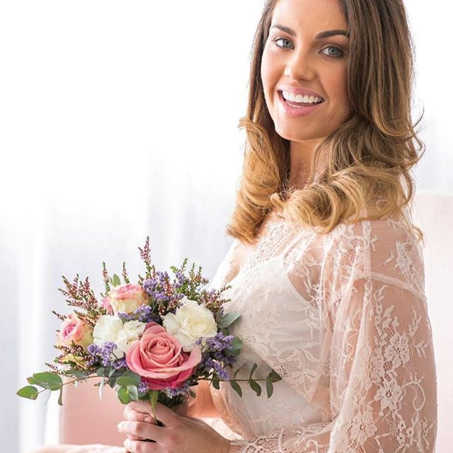 Beautiful blush bridal robe with floral lace detailing