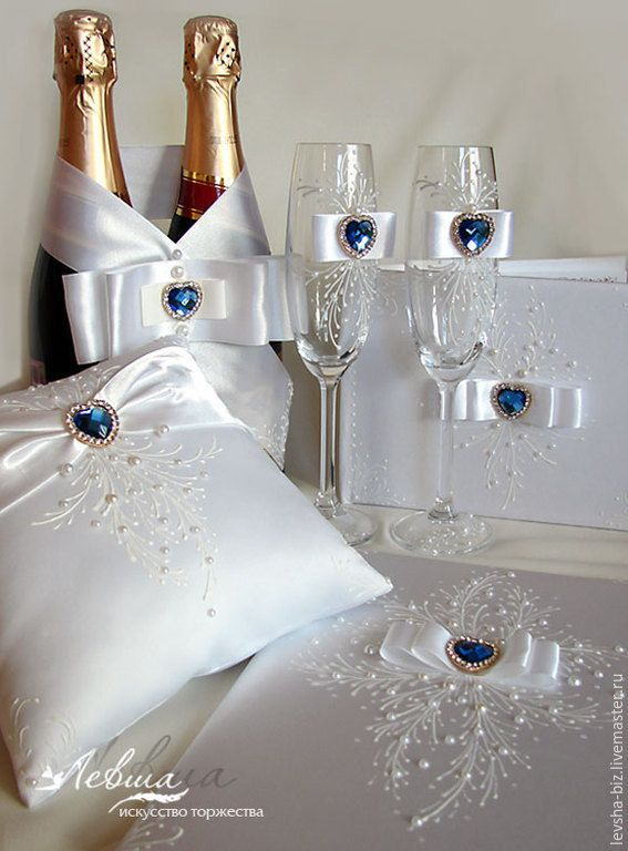 """Купить Свадебный комплект """"Сердце океана"""" - белый, синий, свадебные аксессуары, свадебный комплект"""