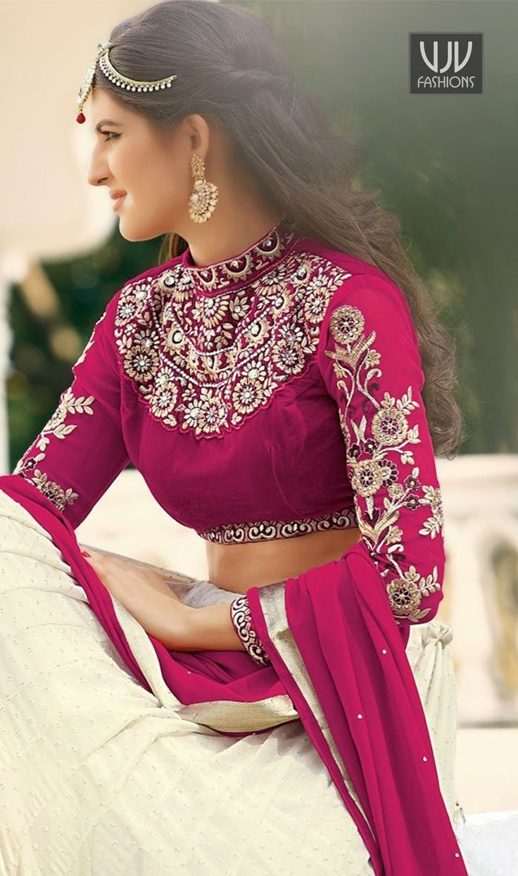 Lovely Off White and Pink Georgette Wedding Lehenga Choli