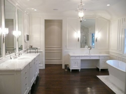 Photos Of Master bath example of white cabinets with dark floors love the different tile work under tub