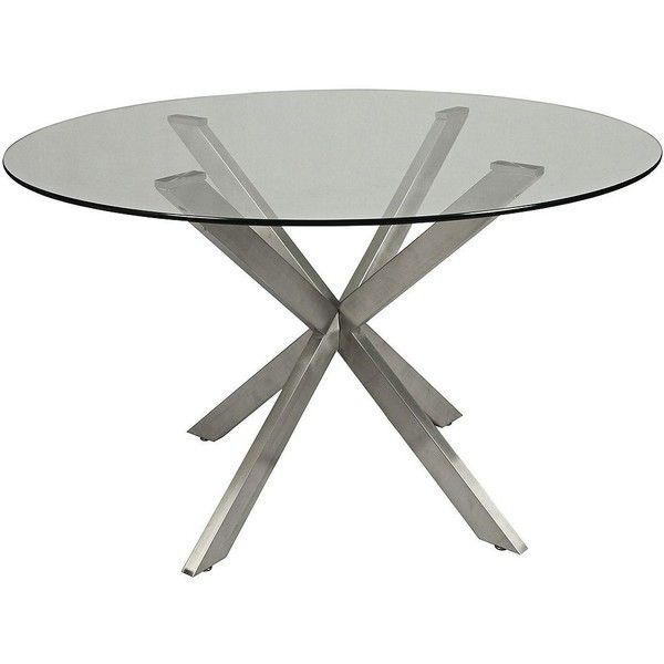 "Pastel Eritrea Glass and Stainless Steel 48"" Dining Table ($752) via Polyvore featuring home, furniture, tables, dining tables, round glass dining table, stainless table, round stainless steel table, circular table and stainless steel kitchen table"