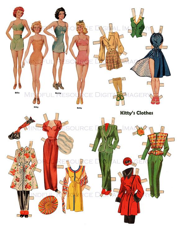 Girlfriends Paper Dolls 1940s Vintage Paper by mindfulresource