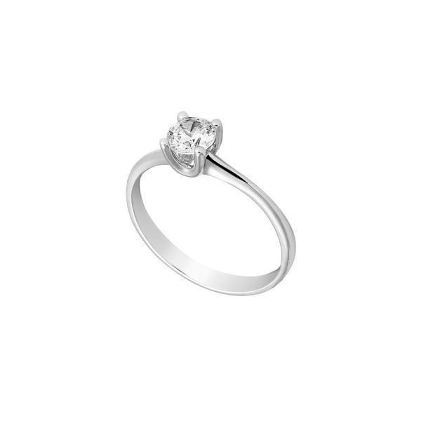 Μονόπετρο  δαχτυλίδι Al'oro  Κ18 λευκόχρυσο διαμάντι ZL921