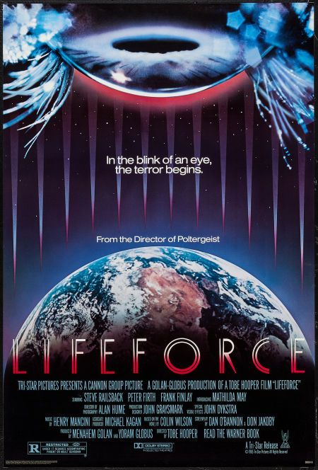 """Lifeforce (Cannon, 1985). One Sheets (2) (27"""" X 40"""", 27"""" X 41""""). Horror. Starring Steve Railsback, Peter Firth, Frank Finlay, Mathilda May, Patrick Stewart, Chris Jagger, and Bill Malin. Directed by Tobe Hooper."""