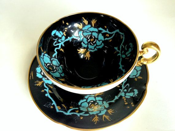 Black Old Royal Tea Cup and Saucer, Hand Painted Tea Cups, Tea Set, Black Aqua Teacup and Saucer, Bone China Tea Cups, Antique Teacups