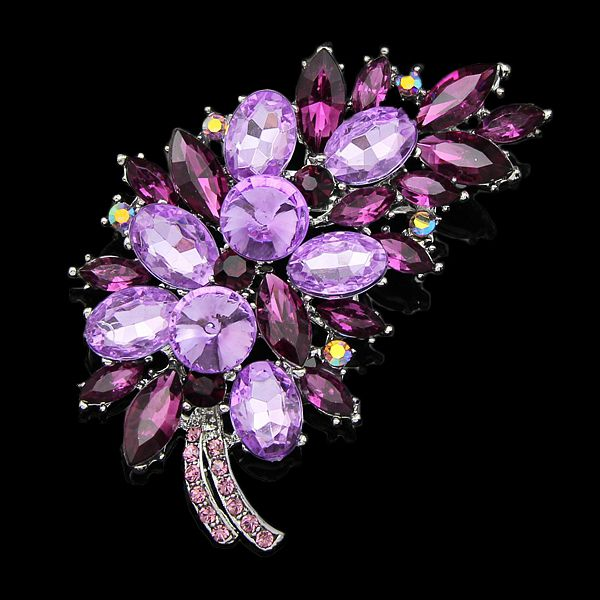 Luxury  high quality Silver Plated Plant Shape Austria Crystal Pendant Pin Brooches Women Costume Jewelry Brooch Wedding Bouquet