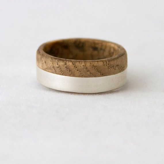 wood wedding band with silver line black ash wood door aboutjewelry, $150.00