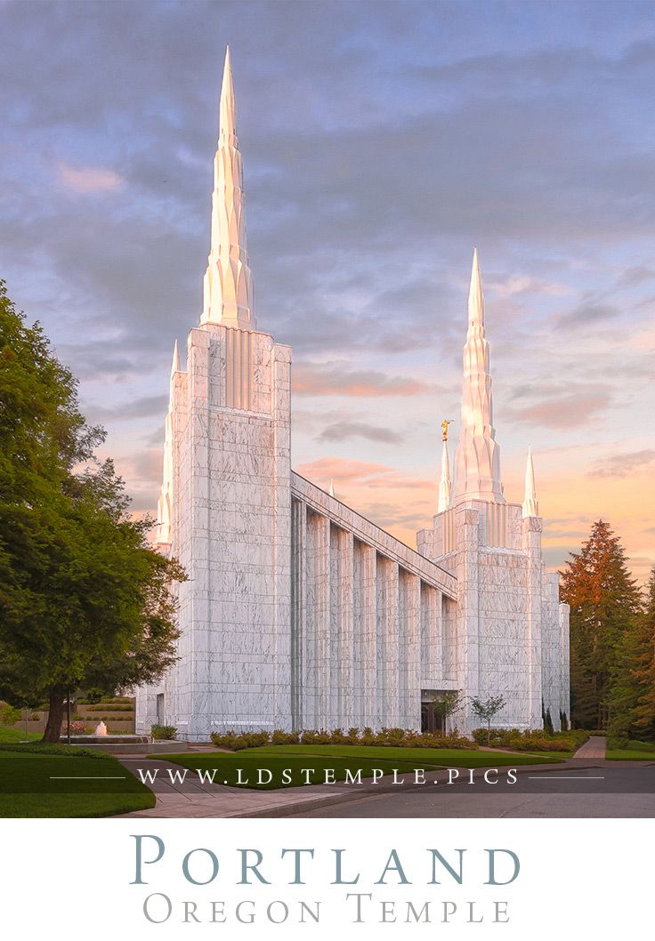 Portland Temple West Side - The west side of the Portland Oregon Temple during sunset. Photo by Taylor Yardley.