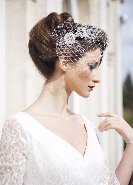 We love these new vintage inspired wedding accessories from Flo & Percy, especially this cute bird cage veil. www.handbag.com