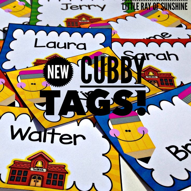 Cubby Tags Pencils & Schoolhouse: EDITABLE & WRITE-ON