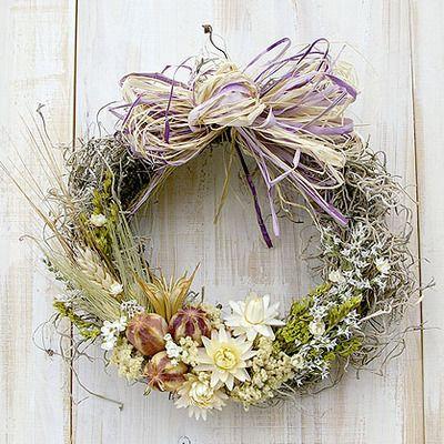麦と白い花のナチュラルドライフラワーリース