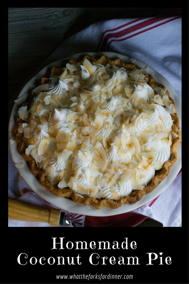Pre-baked pie crust filled with a luscious homemade coconut filling. Coconut milk gives a subtle background flavor.