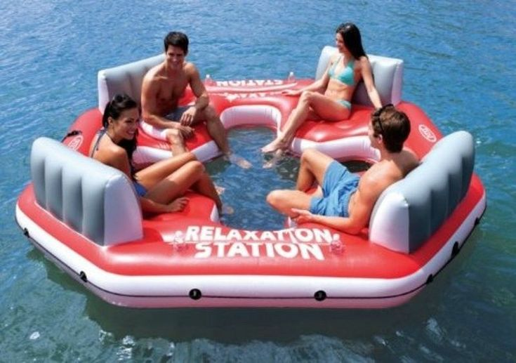 Intex Pacific Paradise Relaxation Station Water Lounge 4 Person Tube River Beach #Intex