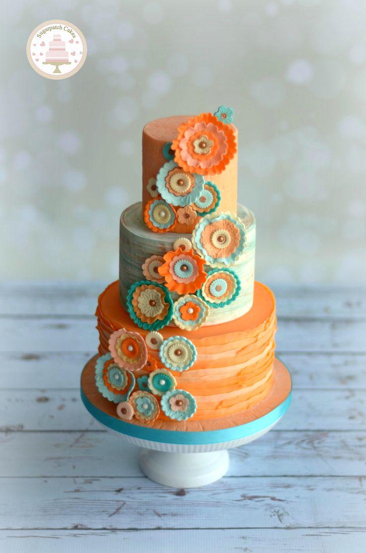 Orange Contemporary Style Wedding Cake