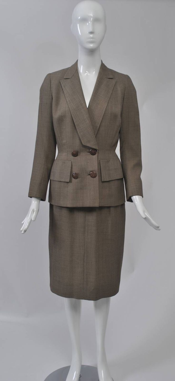 1950s Brown Tweed Suit | From a collection of rare vintage suits, outfits and ensembles at https://www.1stdibs.com/fashion/clothing/suits-outfits-ensembles/