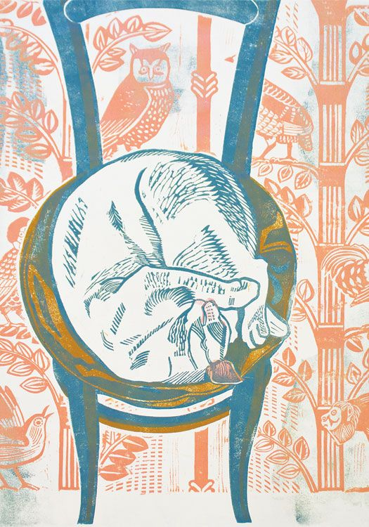 """""""Curled Up"""" by Sheila Robinson, 1958 (lithograph)"""