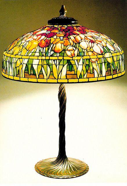 FRUIT TABLE LAMP TIFFANY 1900-1910 POSTCARD    Fruit Table Lamp Loaded Favrile glass Tiffany Studios, New York.