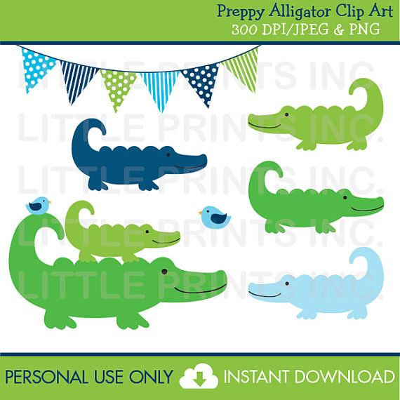 Preppy Alligator Clipart Personal Use Instant Download