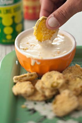 The Deen Bros Deep-Fried Pickles with Honey-Mustard Dipping Sauce