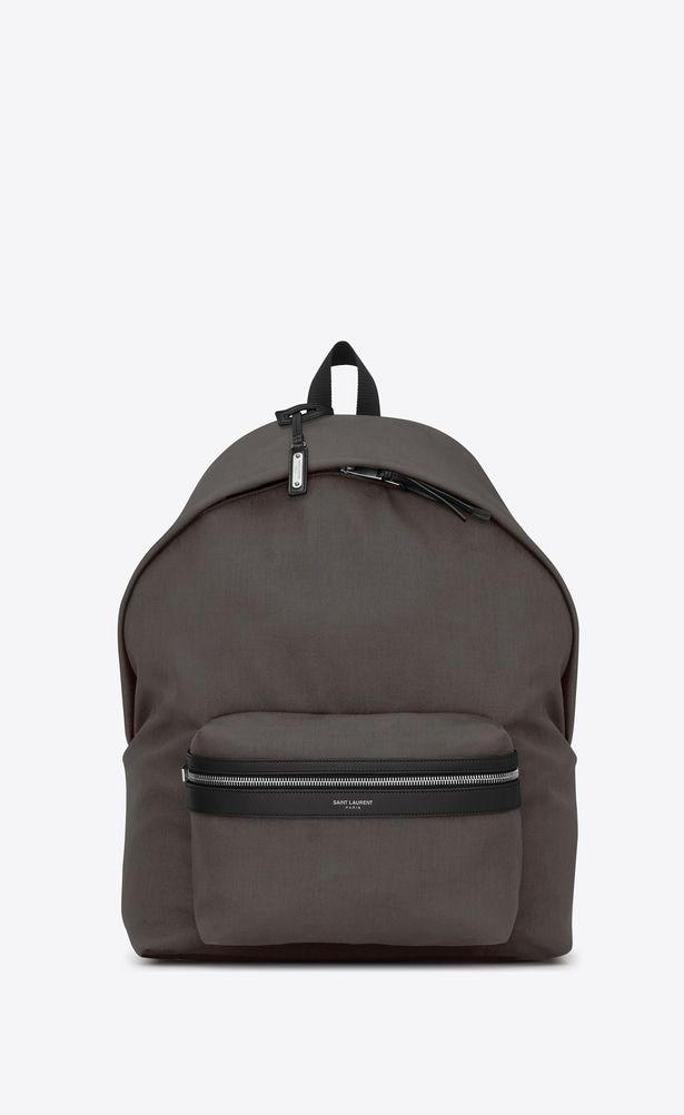 e0edb795c SAINT LAURENT Giant Backpacks Man GIANT CITY Backpack with Earth Grey Nylon  Canvas and Black Leather a_V4
