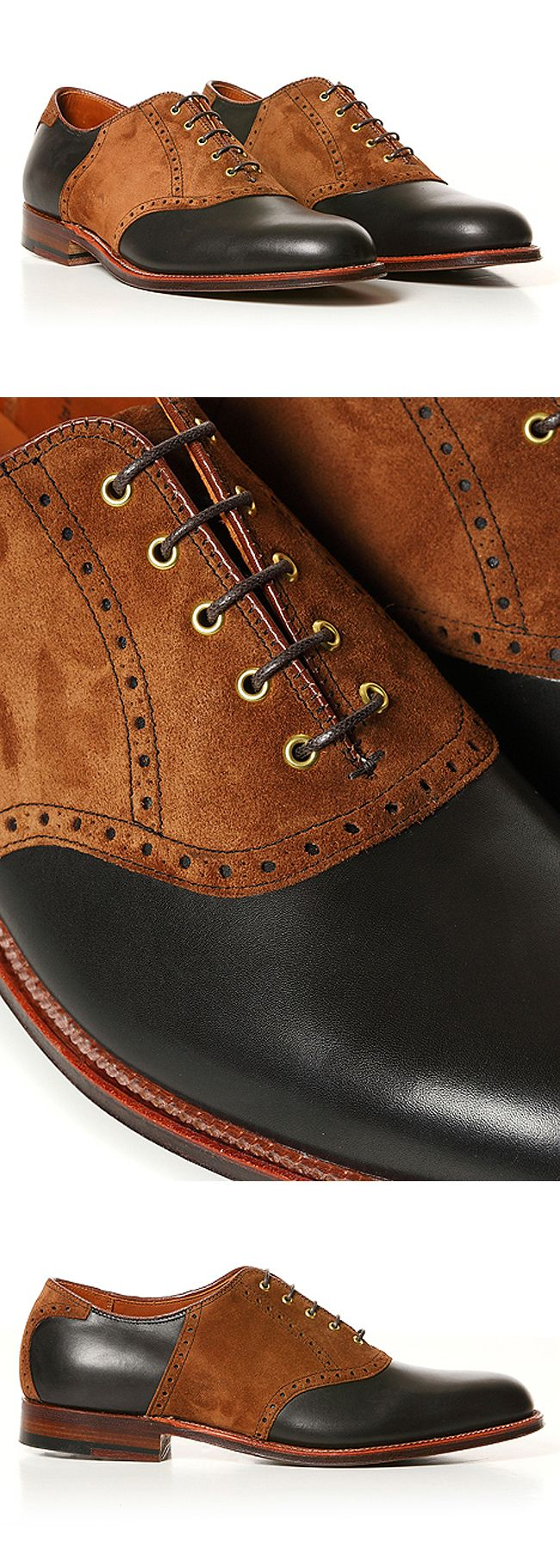 Black #Leather and Caramel Suede Saddle #Shoes. Men's Fall Winter Fashion.