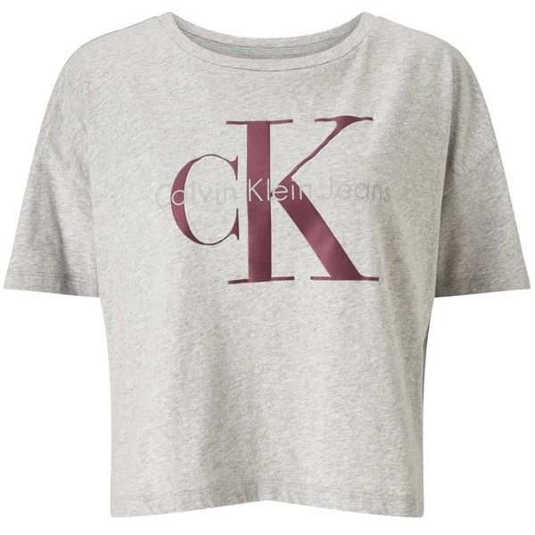 Calvin Klein Teca-13 Cropped Logo T-Shirt, Light Grey Heather (200 PEN) ❤ liked on Polyvore featuring tops, t-shirts, crop t shirt, slogan t shirts, calvin klein t shirt, logo tees and short sleeve tee