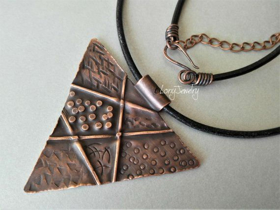 Copper Pendant Necklace Necklace Handmade Hammered Necklace