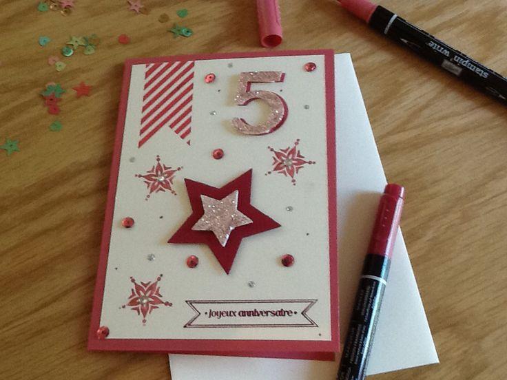Carte d'anniversaire fille : stars