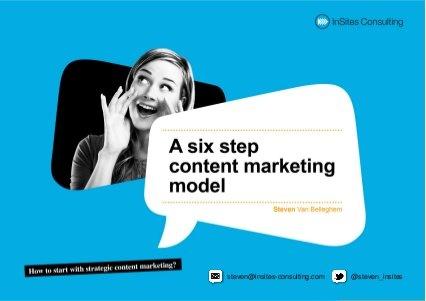 A six step content marketing model by steven van belleghem, via Slideshare