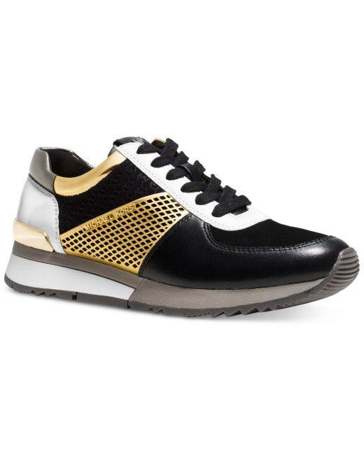 Michael Kors | Gold Michael Allie Trainer Sneakers for Men | Lyst