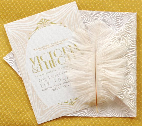 Art Deco Invitation Suite   Invitation & Reply Card by umama143, $5.00