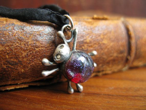 Handcrafted Unique Solid Silver and Dichroic Glass Bug Pendant - Red Spider on 100% Silk Cord - Fully UK Hallmarked on Etsy, $59.32