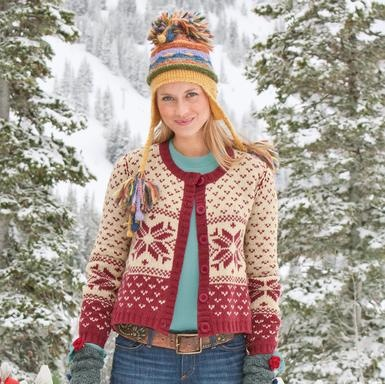Thought you couldn't push tangerine in the winter with all the reds, but look at this - just mix it up a little, and there it is, looking very pretty!  Might like to knit that hat!