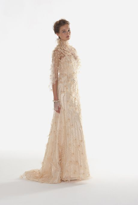 "Brides: Langner Couture - Fall 2013. ""Love"" gold strapless embroidered tulle and organza A-line wedding dress with matching cape, Langner Couture"