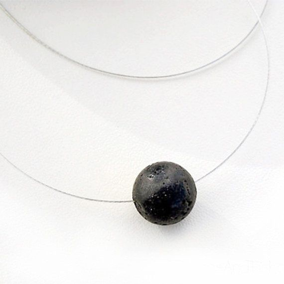Black Lava Necklace Single Bead Solitaire by PiscesAndFishes