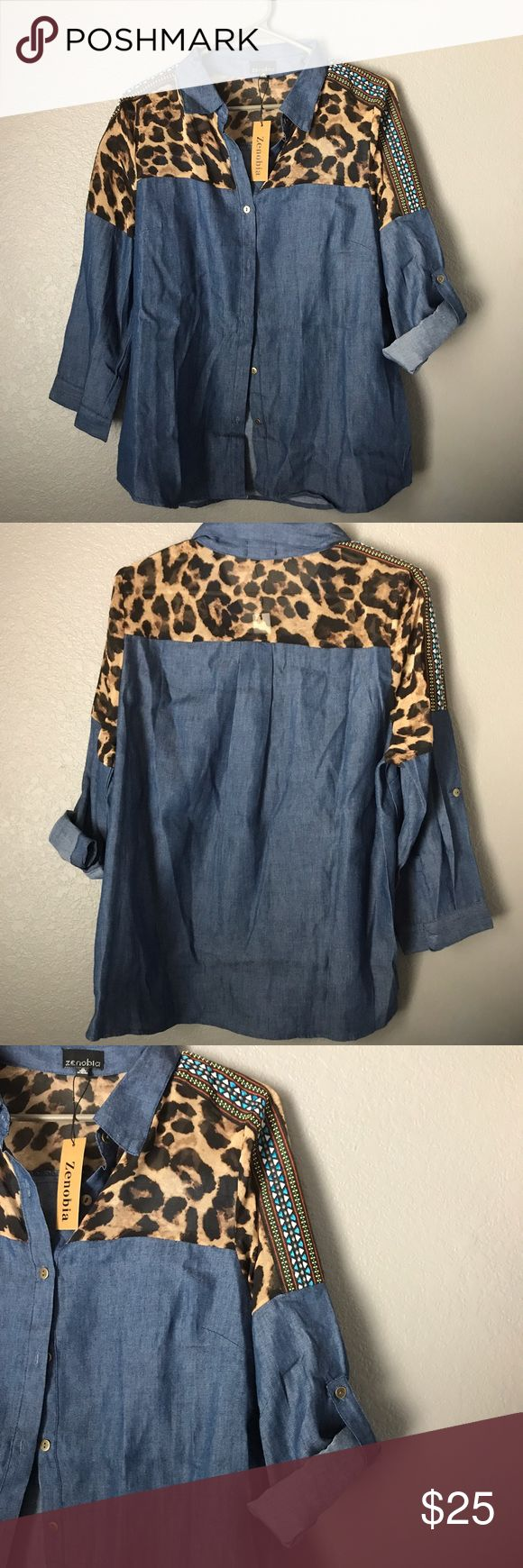 Blue Button Up w/Cheetah Print & Tribal Designs This super bold and unique button up with cheetah print and tribal designs would pair so well with jeans and some boots! The sleeves can either be worn down or rolled up, and the cheetah print section is a see through material! This shirt is a size XL. A NWT Boutique Item.💖 Tops Button Down Shirts