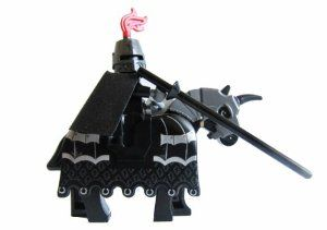 LEGO Kingdom Dark Knight Minifigure with Armored Horse by LEGO. $36.29. Black horse includes armor and horn. Knight comes with black lance, silver greatsword and red shield (rare). Ominous Dark Kinght Mini-figure with closed helmet and red plume. This black knight is ready for jousting and ready for the Tournament Parade.  He is a modified knight but very collectible!