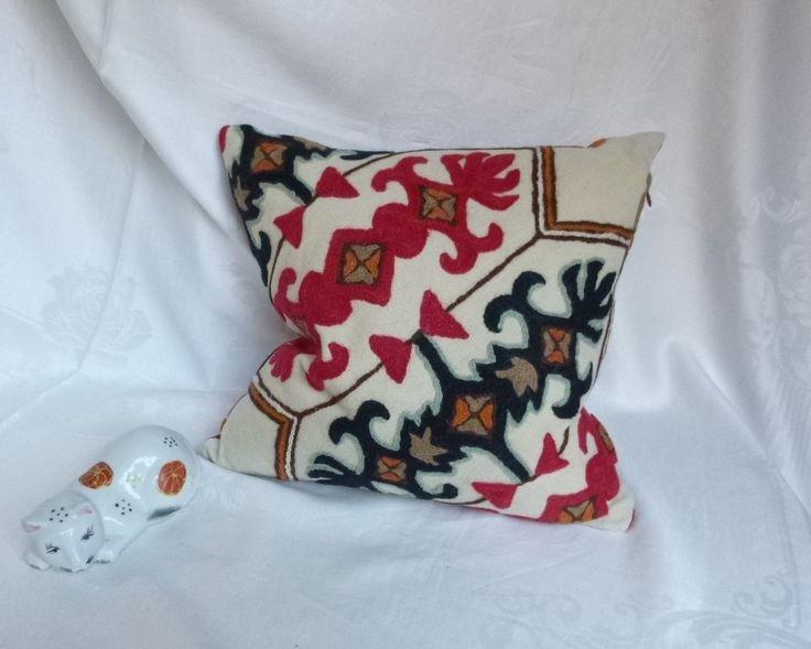 "Decorative Crewel Work Pillow 16""x16"" ~ Vintage Fabric ~ Handmade Pillow by…"