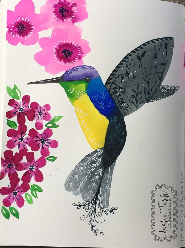 My first piece on humming birds. Andrea Turk