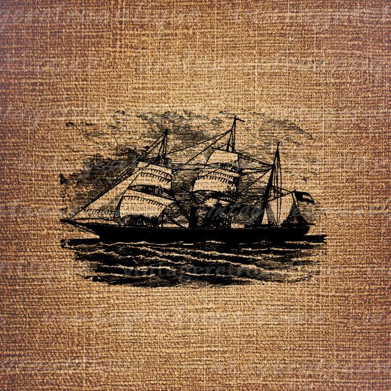 Digital Printable Ship Image Sail Boat by VintageRetroAntique
