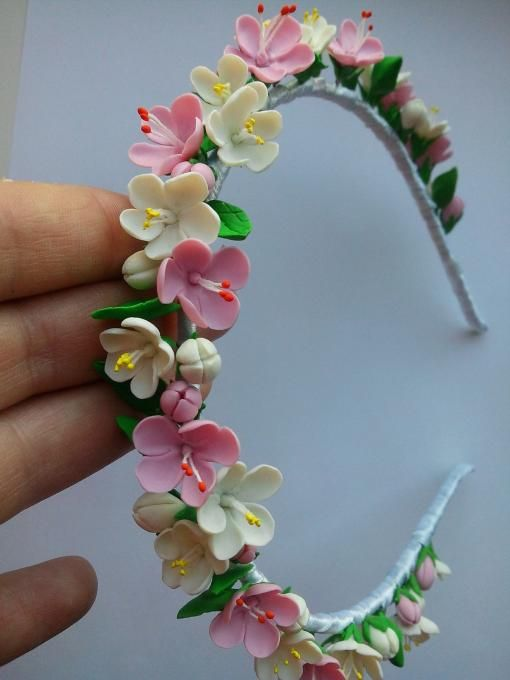 DIY clay flower headband