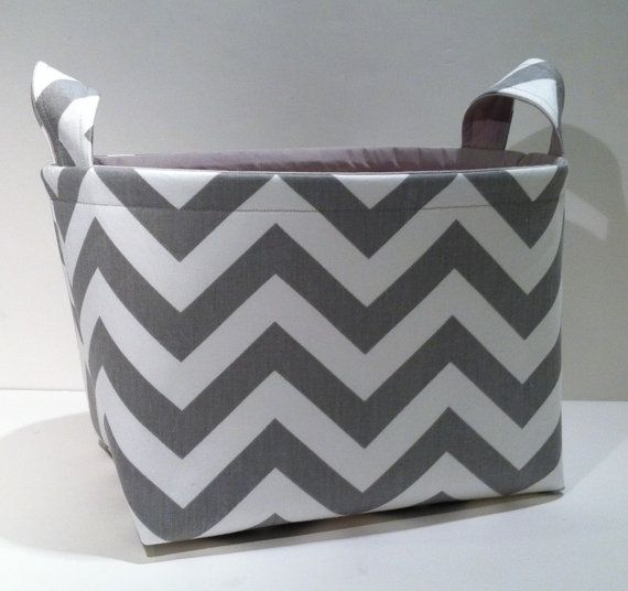 Large Fabric Basket Organizer Bin Storage Container-Gray and White Chevron Zig Zag Stripe with Solid Light Gray Interior