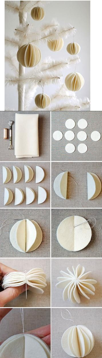 Make your own Christmas ornaments - They do not have to be white/off-white