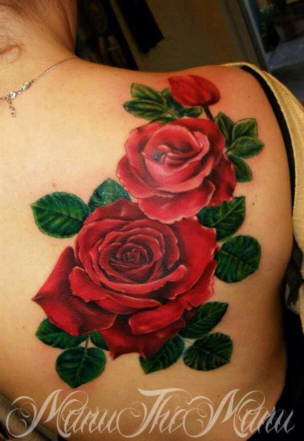 Red rose bouquet, by Maru tattoo.
