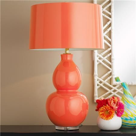 Modern Ceramic Table Lamp - Soft Coral lined with Aqua, perfect look and color with the gray bedding but not on the price, will look for something like this for the mirrored bedside table.  Keep an eye out too!