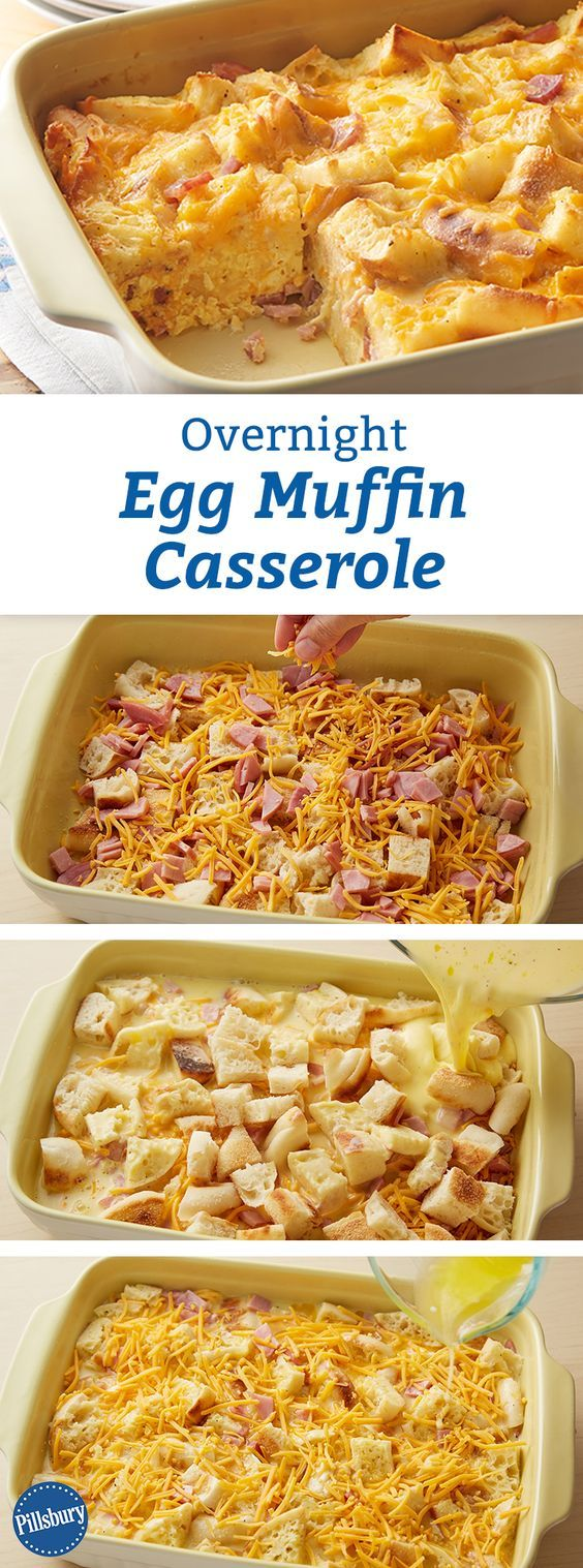 Overnight Egg Muffin Casserole: All the flavors of your favorite breakfast sandwich in a buttery ham, cheese and egg bake that will totally make it into your regular weekend rotation. Great for company too!