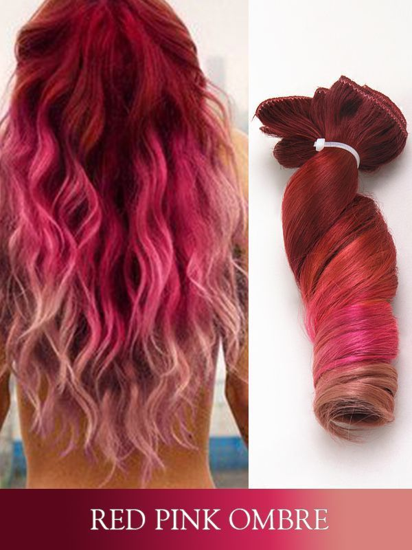 Red Pink Ombre Colorful Clip In Human Hair Extensions Fbc008 Clip