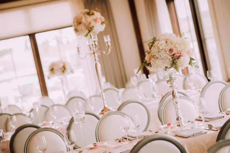 Tall white and blush centrepiece by Jodi Leigh Designs